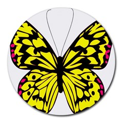 Yellow A Colorful Butterfly Image Round Mousepads