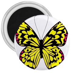 Yellow A Colorful Butterfly Image 3  Magnets