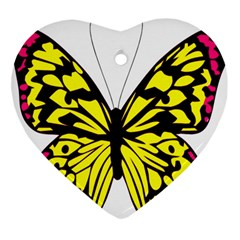 Yellow A Colorful Butterfly Image Ornament (Heart)