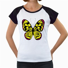 Yellow A Colorful Butterfly Image Women s Cap Sleeve T