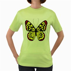 Yellow A Colorful Butterfly Image Women s Green T-Shirt