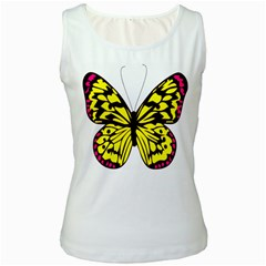 Yellow A Colorful Butterfly Image Women s White Tank Top