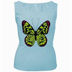 Yellow A Colorful Butterfly Image Women s Baby Blue Tank Top