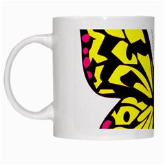 Yellow A Colorful Butterfly Image White Mugs