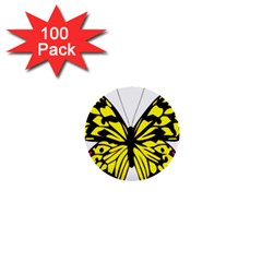 Yellow A Colorful Butterfly Image 1  Mini Buttons (100 pack)