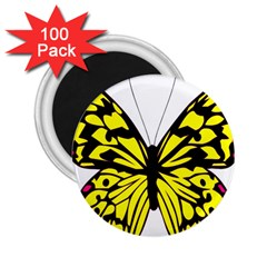 Yellow A Colorful Butterfly Image 2 25  Magnets (100 Pack)