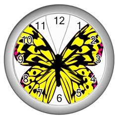 Yellow A Colorful Butterfly Image Wall Clocks (silver)