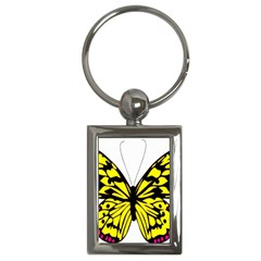 Yellow A Colorful Butterfly Image Key Chains (rectangle)