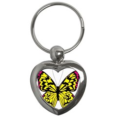 Yellow A Colorful Butterfly Image Key Chains (heart)