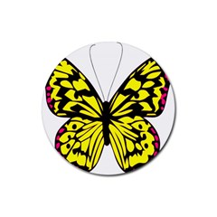 Yellow A Colorful Butterfly Image Rubber Coaster (Round)