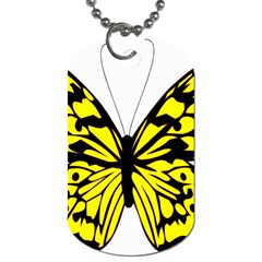 Yellow A Colorful Butterfly Image Dog Tag (One Side)