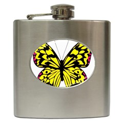 Yellow A Colorful Butterfly Image Hip Flask (6 Oz)