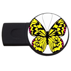 Yellow A Colorful Butterfly Image USB Flash Drive Round (2 GB)