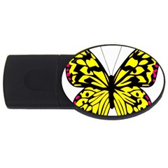 Yellow A Colorful Butterfly Image USB Flash Drive Oval (2 GB)