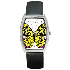 Yellow A Colorful Butterfly Image Barrel Style Metal Watch