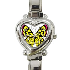 Yellow A Colorful Butterfly Image Heart Italian Charm Watch