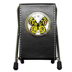 Yellow A Colorful Butterfly Image Pen Holder Desk Clocks