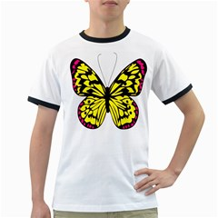 Yellow A Colorful Butterfly Image Ringer T Shirts