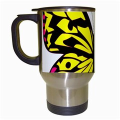 Yellow A Colorful Butterfly Image Travel Mugs (White)