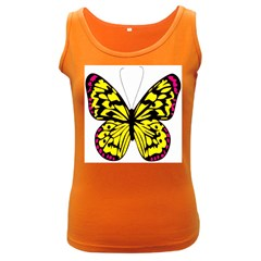 Yellow A Colorful Butterfly Image Women s Dark Tank Top