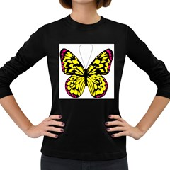 Yellow A Colorful Butterfly Image Women s Long Sleeve Dark T Shirts