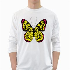 Yellow A Colorful Butterfly Image White Long Sleeve T Shirts