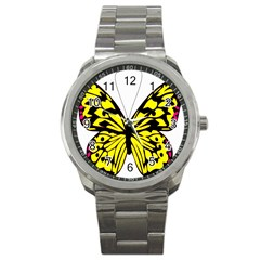 Yellow A Colorful Butterfly Image Sport Metal Watch