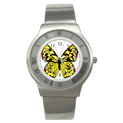 Yellow A Colorful Butterfly Image Stainless Steel Watch