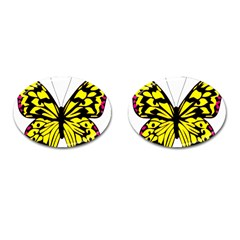 Yellow A Colorful Butterfly Image Cufflinks (oval)