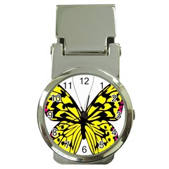 Yellow A Colorful Butterfly Image Money Clip Watches