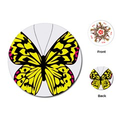 Yellow A Colorful Butterfly Image Playing Cards (Round)