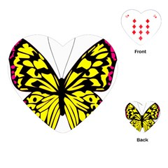 Yellow A Colorful Butterfly Image Playing Cards (Heart)