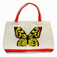 Yellow A Colorful Butterfly Image Classic Tote Bag (red)