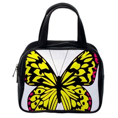 Yellow A Colorful Butterfly Image Classic Handbags (one Side)