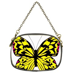 Yellow A Colorful Butterfly Image Chain Purses (two Sides)
