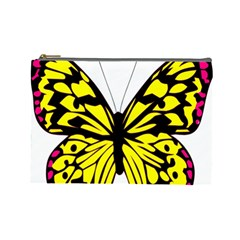 Yellow A Colorful Butterfly Image Cosmetic Bag (large)