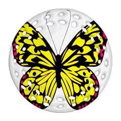 Yellow A Colorful Butterfly Image Round Filigree Ornament (two Sides)