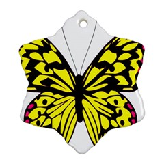 Yellow A Colorful Butterfly Image Snowflake Ornament (Two Sides)