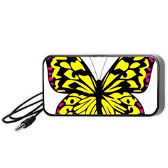 Yellow A Colorful Butterfly Image Portable Speaker (black)
