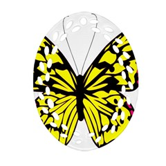 Yellow A Colorful Butterfly Image Ornament (Oval Filigree)