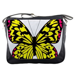 Yellow A Colorful Butterfly Image Messenger Bags