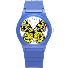 Yellow A Colorful Butterfly Image Round Plastic Sport Watch (S)
