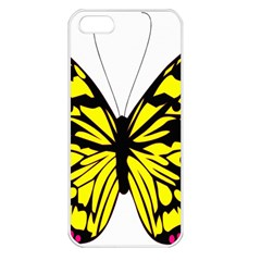 Yellow A Colorful Butterfly Image Apple iPhone 5 Seamless Case (White)