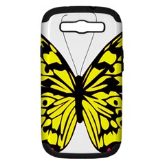 Yellow A Colorful Butterfly Image Samsung Galaxy S III Hardshell Case (PC+Silicone)