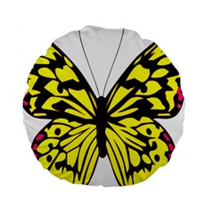 Yellow A Colorful Butterfly Image Standard 15  Premium Round Cushions