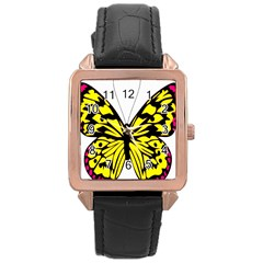 Yellow A Colorful Butterfly Image Rose Gold Leather Watch