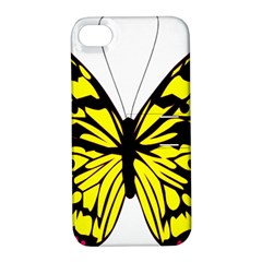 Yellow A Colorful Butterfly Image Apple iPhone 4/4S Hardshell Case with Stand