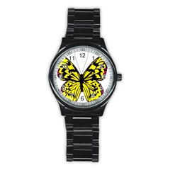Yellow A Colorful Butterfly Image Stainless Steel Round Watch