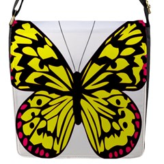 Yellow A Colorful Butterfly Image Flap Messenger Bag (S)