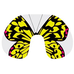 Yellow A Colorful Butterfly Image Travel Neck Pillows